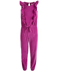 Big Girls Ruffled Velour Jumpsuit, Created For Macy's