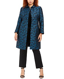 Plus Size Collared Printed Topper Jacket