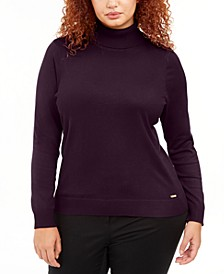 Plus Size Solid Turtleneck Sweater