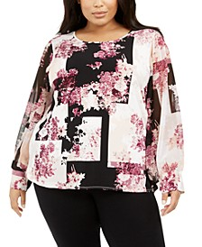 Plus Size Printed Chiffon-Sleeve Blouse
