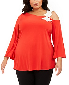 Plus Size One-Shoulder Appliqué Tunic, Created for Macy's