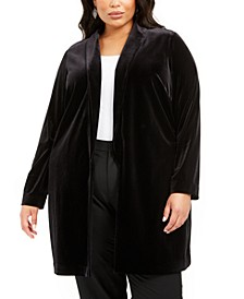 Plus Size Open-Front Long Velvet Jacket, Created For Macy's