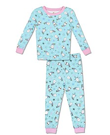 Girls Toddler, Little and Big Mer Cat Print 2 Piece Ultimate Cotton Pajama Set with Grow with Me Cuffs