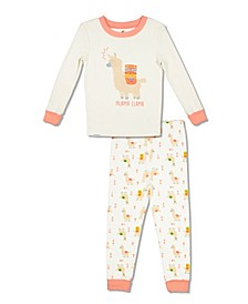 Girls Toddler, Little and Big Pajama Llama 2 Piece Cotton Set with Grow with Me Cuffs