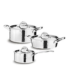 STERN 6 Piece Hammered Stainless Steel Tri-ply Cookware Set