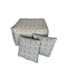 Outdoor Large Square Pouf and Pillow Pack