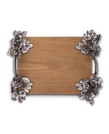 Pewter Bee and Flower Hardwood Serving Tray