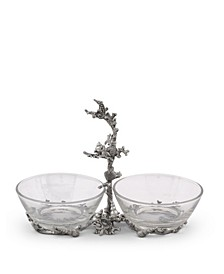 "Hand-Blown Glass 2-Bowls Condiment Server with Solid Pewter ""Ocean Coral"" Frame and Accents"