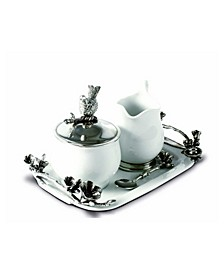 Stoneware Creamer Set - Pewter Song Bird Long Tray with Creamer, Sugar Bowl and Spoon