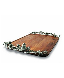 Wood Serving Tray with Pewter Song Bird Handles