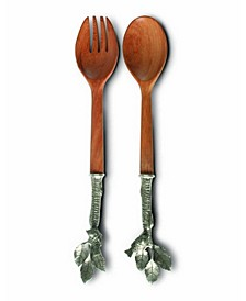 Pewter and Wood Song Bird Salad Server Set