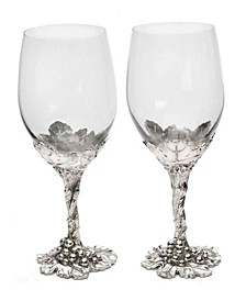 Designs Aluminum Grape Pattern Base Wine Glasses Tall