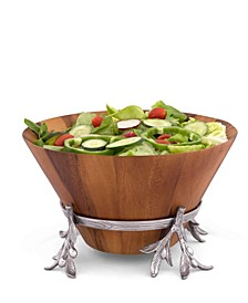Acacia Wood Salad Bowl in Metal Stand, Sand-Cast Aluminum Stand in Olive Pattern