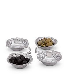 Sand-Cast Aluminum, Set of 4 Olive Pattern Sauce Bowls