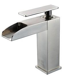 Brushed Nickel Single Hole Waterfall Bathroom Faucet