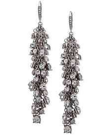 Hematite-Tone Shaky Crystal Cluster Linear Drop Earrings