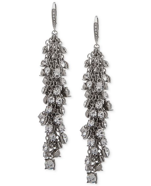 Jenny Packham Hematite-Tone Shaky Crystal Cluster Linear Drop Earrings