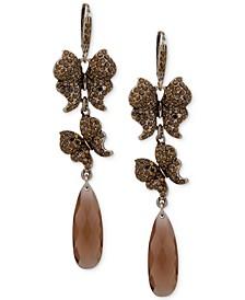 Pavé Butterfly & Stone Linear Drop Earrings
