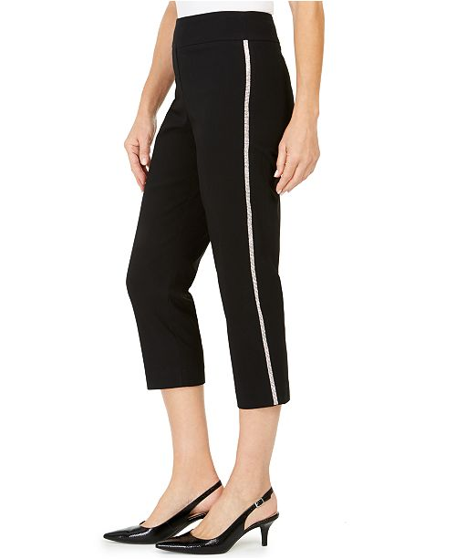 JM Collection Embellished Side-Stripe Capri Pants, Created For Macy's
