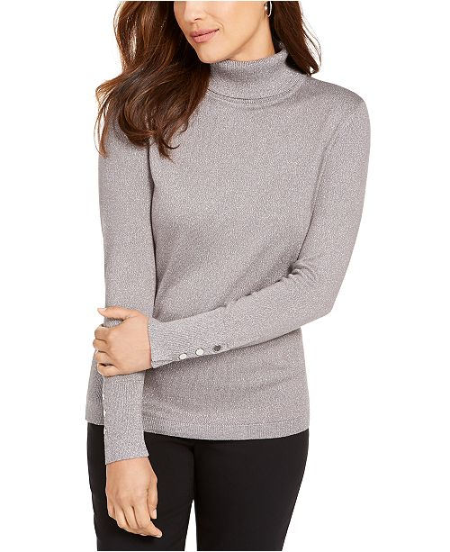 JM Collection Metallic Turtleneck Stud-Cuff Sweater, Created For Macy's