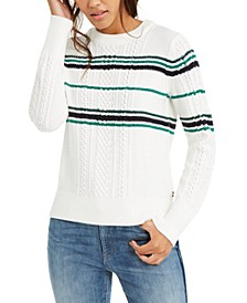 Striped Cable-Knit Sweater, Created For Macy's