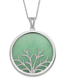 Green Jade (30 mm) Family Tree Circle Pendant in Sterling Silver