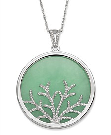 Green Jade (30 mm) Tree of Life Circle Pendant in Sterling Silver