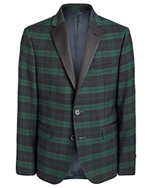 Big Boys Navy Blue/Green Blackwatch Tartan Sport Coat