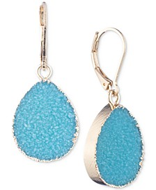 Gold-Tone Turquoise Colored Druzy Stone Drop Earrings