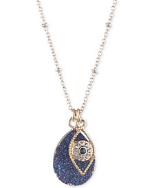 "Gold-Tone Evil Eye & Blue Druzy Pendant Necklace & Phone Card Holder Set, 16"" + 3"" extender, Created for Macy's"