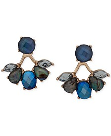 Gold-Tone Stone Front-and-Back Earrings