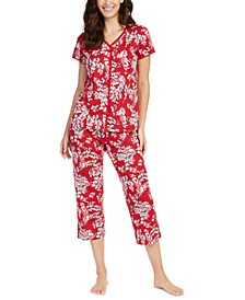 Cotton Short-Sleeve Top & Capri Pajama Pants Set, Created For Macy's