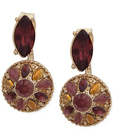 Gold-Tone Burgundy Stone Floater Earrings