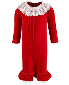 Baby Girls Lace-Trim Stretch Velvet Coverall