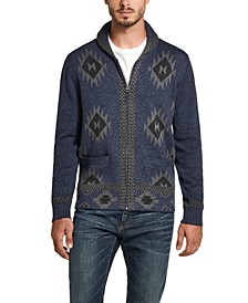 Men's Western Pattern Full-Zip Sweater