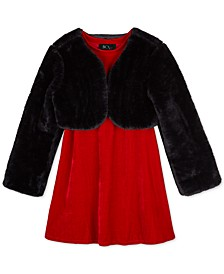 Big Girls 2-Pc. Faux-Fur Shrug & Velvet Shift Dress