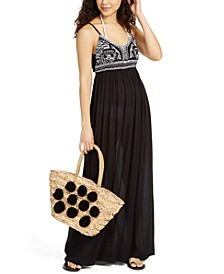 Sleeveless Embroidered Cover-Up Maxi Dress