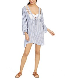 Striped Crochet-Trim Cover-Up Tunic