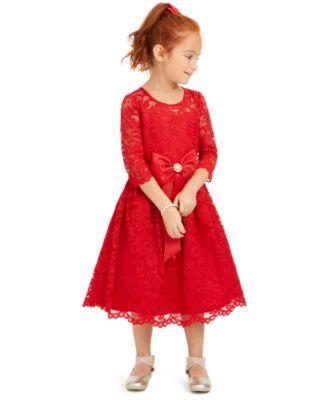 Little Girls Lace Bow Dress