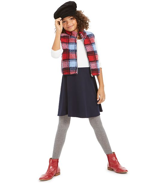 Sequin Hearts Big Girls 2-Pc. Plaid Vest & Colorblocked Dress Set