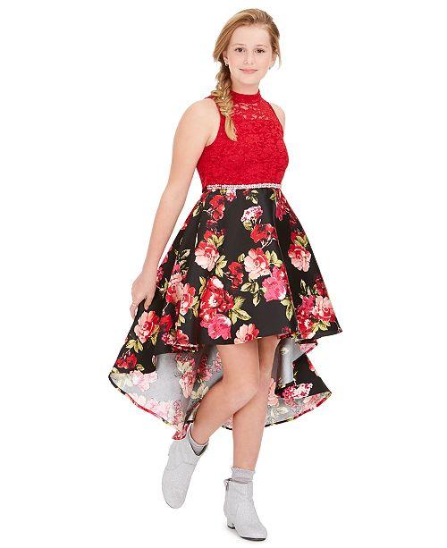 Big Girls Plus Size Lace High-Low Dress