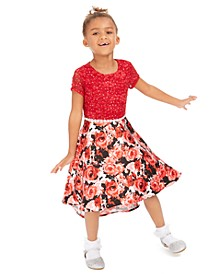 Little Girls Glitter-Lace High-Low Dress