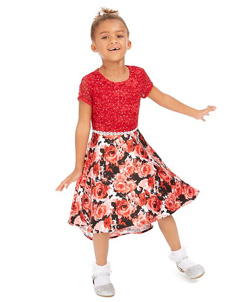 Speechless Little Girls Glitter-Lace High-Low Dress