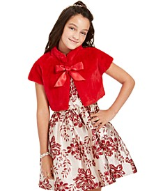 Big Girls Faux-Fur Bolero & Brocade Dress