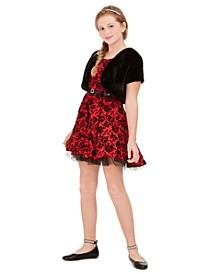 Big Girls Plus Size 2-Pc. Belted Floral Dress & Faux-Fur Jacket Set