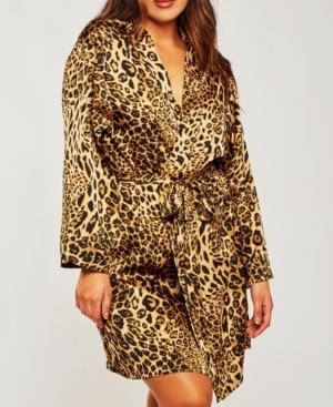 Plus Size Ultra Soft Print Wrap Robe