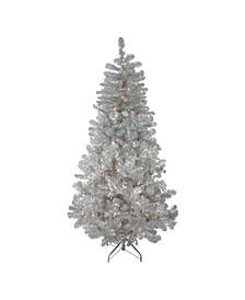 Pre-Lit Silver-Tone Metallic Artificial Tinsel Christmas Tree - Clear Lights