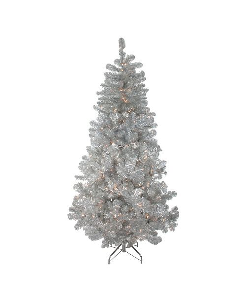 Northlight 7.5' Pre-Lit Silver Metallic Artificial Tinsel Christmas Tree - Clear Lights