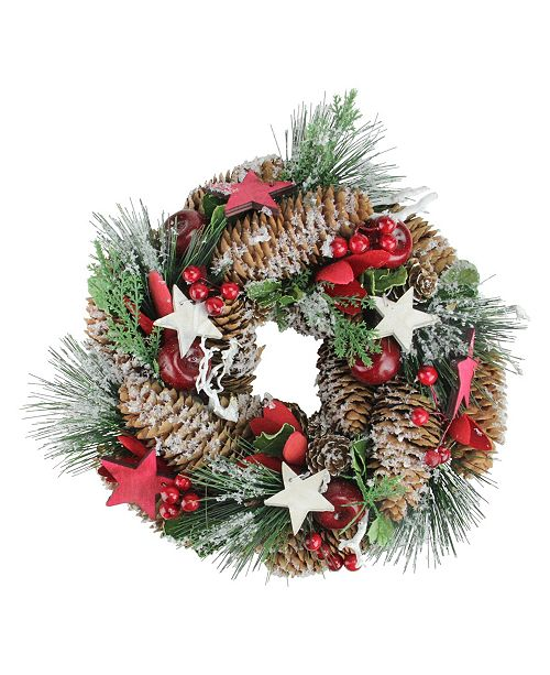 "Northlight 10"" Stars Berries and Pine Cones Decorative Pine Christmas Wreath - Unlit"