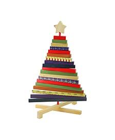 """15.5"""" Adjustable Multi-Colored Wooden Decorative Christmas Tree Tabletop Decoration"""